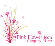 Pink flower icon Stock Images