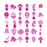 Pink flower icons Stock Photography