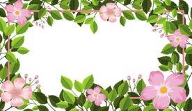 Pink flower and leaf frame. Illustration royalty free illustration