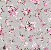 Vintage flower pattern on grey. Pink flower and leaves seamless vintage flower pattern on background royalty free illustration