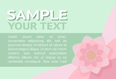 Pink Flower. On a light green background with text Royalty Free Stock Image