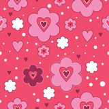 Pink flower love seamless repeatable pattern. Hearts and flowers pattern with white dots over pink background Royalty Free Stock Photography