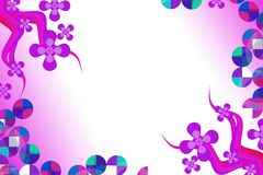 Pink flower with multicolor circles, abstract background Stock Images