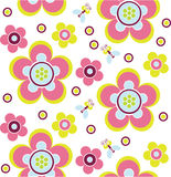 Pink flower pattern. With bee Stock Photography