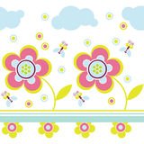 Pink flower pattern. With bee Stock Photo