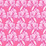 Pink flower pattern background. Simple flower texture.Plant endless background. Seamless pattern Stock Images