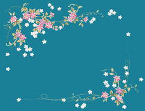 Pink flower pattern in blue background Stock Image