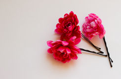 Pink flower pin for hair Royalty Free Stock Photo
