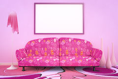 Pink flower power sofa. 3D interior rendering of a pink flower power sofa Royalty Free Stock Photos