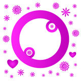 Pink flower round frame Royalty Free Stock Photography