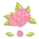 Pink flower of sakura, green leafs on white. Clip art stock vector illustration design element Stock Photo