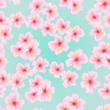 Pink flower, sakura seamless pattern. Japanese cherry blossom for fabric textile design. Texture for pillow, wrapping, tablecloth and other royalty free illustration