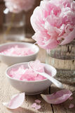 Pink flower salt peony for spa and aromatherapy Stock Photography