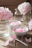 Pink flower salt peony for spa and aromatherapy Royalty Free Stock Image