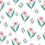 Pink flower seamless pattern background. Pink flower vector art stock illustration