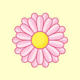 Pink Flower. Simple illustration of pink flower with contour. Separate bloom Stock Images