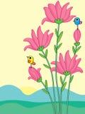 Pink Flower Stem Bird. Illustration pink colors flower stem birds standing landscape view background design Royalty Free Stock Images