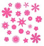 Pink flower symbols. Pack of simple flowers for design and illustration vector illustration