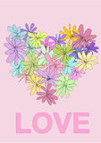 Pink Flower Valentine card Stock Images