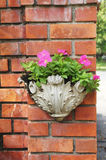 Pink flower in vase hang on brick wall. Pink flower in vase hang on red brick wall Royalty Free Stock Photos