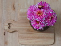 Pink flower and wood texture background Royalty Free Stock Photography