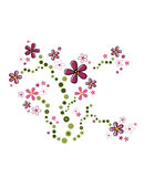 Pink flowers. Swirly pink flower design element royalty free illustration