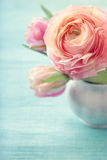 Pink flowers. In a vase Royalty Free Stock Photo