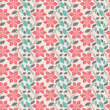 Pink flowers. Seamless pattern with pink flowers and blue and brown leafs Stock Photos