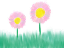 Pink flowers. Illustration of 2 pink flowers in the grass Stock Photo