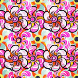 Pink flowers on the abstract orange background seamless pattern Royalty Free Stock Photography