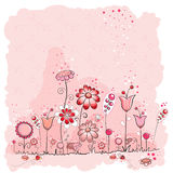 Pink Flowers And Insects Greeting Card Royalty Free Stock Images