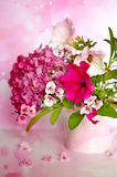 Pink flowers. On pink background in a little vase Stock Image