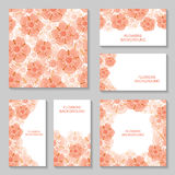Pink flowers backgrounds set Stock Photography