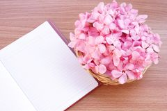 Pink flowers in basket with open notebook on wooden background Stock Images