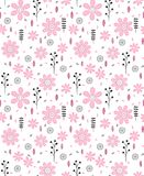 Pattern of Hand Drawn Pink Flowers and Black and Grey Twigs. Delicate Infantile Vector Design. White Background. royalty free illustration