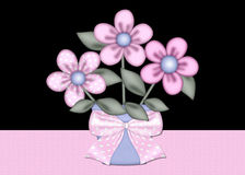 Pink Flowers in Blue Flower Pot Background. This is designed with a lovely set of flowers in a pretty blue flower pot decorated with a pink bow. The background vector illustration