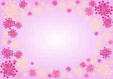 Pink Flowers Border. Dandelion flowers border with inner space to write message Stock Images