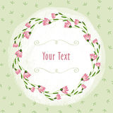 Pink flowers border and green vignette on the light green leaf background stock photography