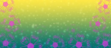 Pink Flowers Border in Green and Yellow Gradient Background Banner. Illustration of pink flowers border in yellow and green background for spring background, web stock illustration