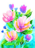 Pink flowers. Bright illustration of pink flowers in watercolor painting. Can be used as greeting card, invitation card for wedding, birthday and other holiday Royalty Free Illustration