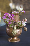Pink flowers in a bronze ash pan Stock Photography