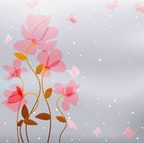 Pink flowers with butterfly Stock Photography