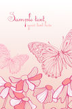 The  pink flowers and  butterfly Royalty Free Stock Photo