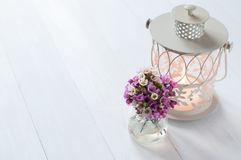 Pink flowers and candle lantern Royalty Free Stock Images