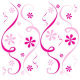 Pink Flowers Confetti Swirl. A background illustration featuring an assortment of light and dark pink confetti-like swirls and flowers on white. Sorry, .CDR Royalty Free Stock Photos