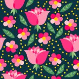 Pink flowers. Cute seamless pattern of pink flowers. Vector illustration Stock Photography