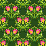 Pink flowers on dark green background. Floral vector seamless pattern in east european folkloric style Stock Photos