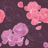 Pink flowers on dark purple background. Seamless floral hand drawn vector pattern Stock Photo