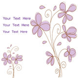 Pink flowers doodle vector for card or invitation Royalty Free Stock Photos