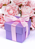 Pink flowers and  gift box Royalty Free Stock Images